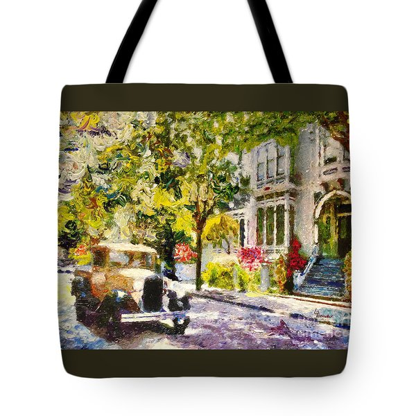 Tote Bag featuring the painting Alameda  Afternoon Drive by Linda Weinstock
