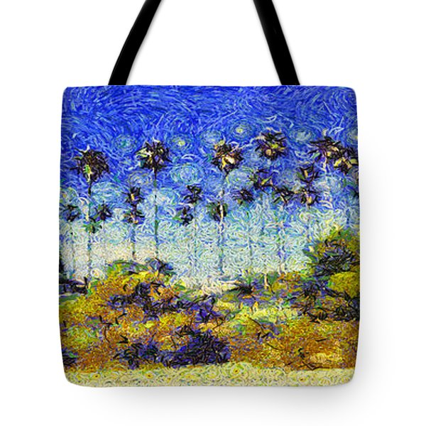 Tote Bag featuring the painting Alameda Famous Burbank Palm Trees by Linda Weinstock