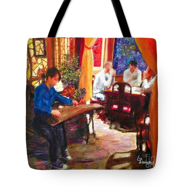 Tote Bag featuring the painting Guzheng by Linda Weinstock