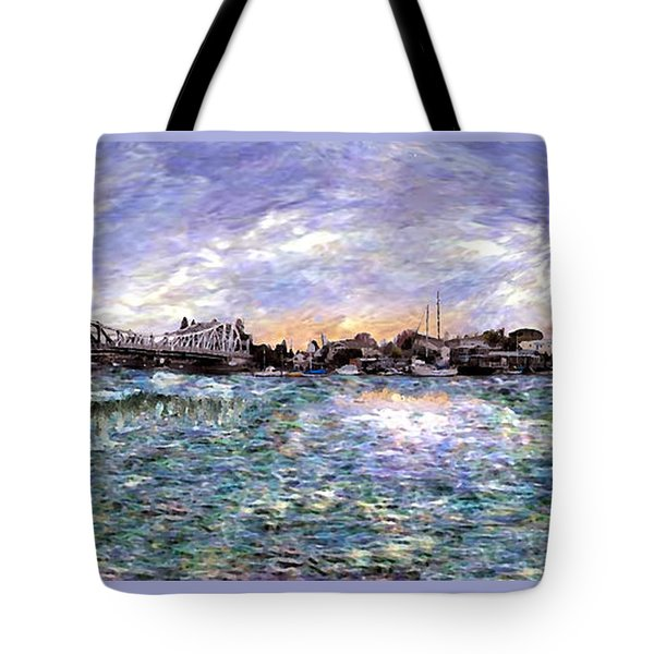 Tote Bag featuring the painting Alameda High Street Bridge  by Linda Weinstock
