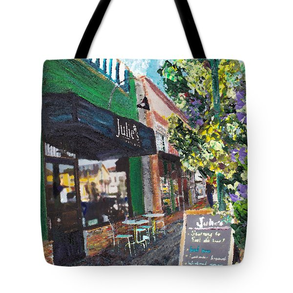 Tote Bag featuring the painting Alameda Julie's Coffee N Tea Garden by Linda Weinstock