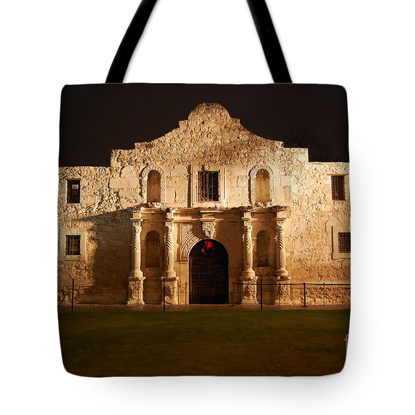Alamo Mission Entrance Front Profile At Night In San Antonio Texas Tote Bag