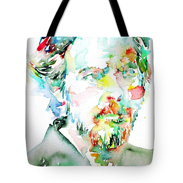 Alan Watts Watercolor Portrait Tote Bag by Fabrizio Cassetta