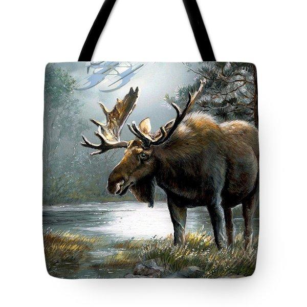 Alaska Moose With Floatplane Tote Bag by Regina Femrite