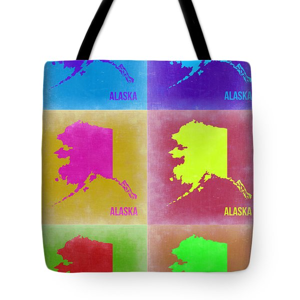 Alaska Pop Art Map 2 Tote Bag by Naxart Studio