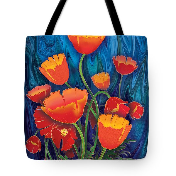 Tote Bag featuring the mixed media Alaska Poppies by Teresa Ascone