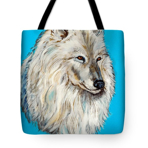Tote Bag featuring the painting Alaska White Wolf by Bob and Nadine Johnston