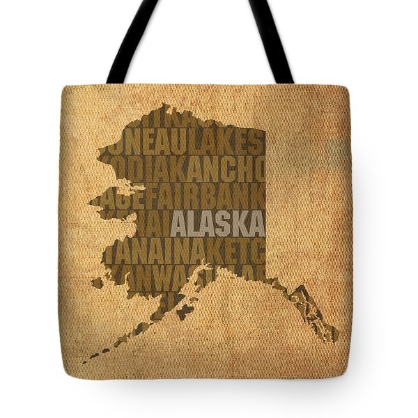 Alaska Word Art State Map On Canvas Tote Bag