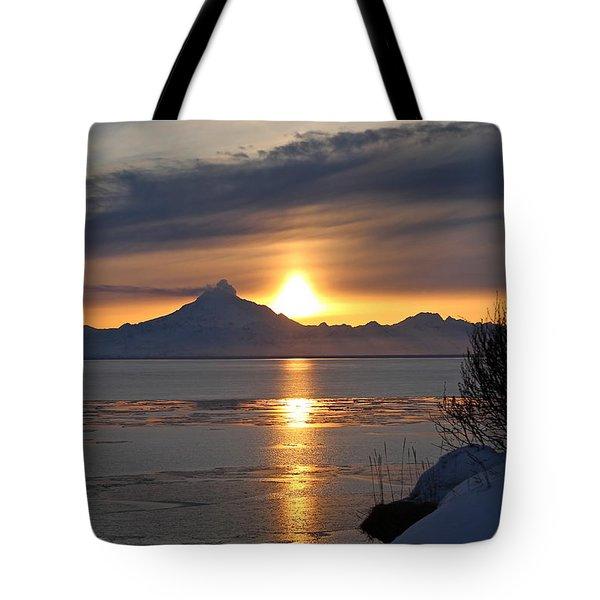 Alaskan Sunset Tote Bag by Rick  Monyahan