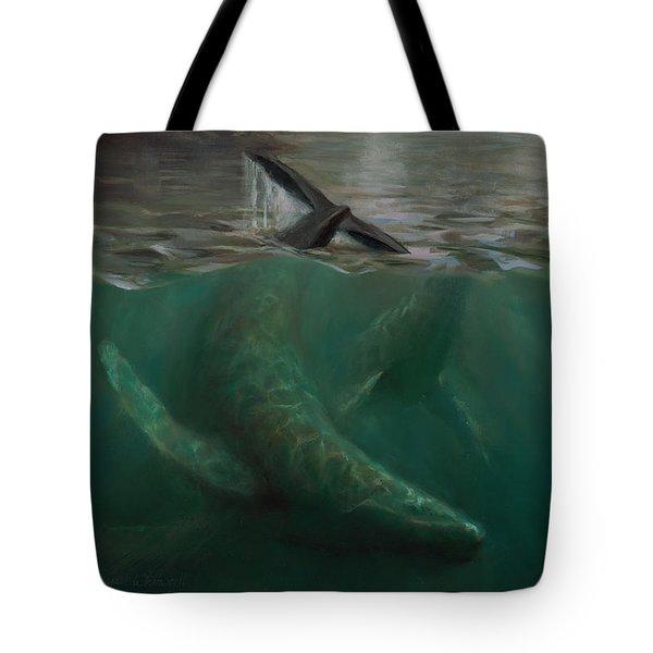 Humpback Whales - Underwater Marine - Coastal Alaska Scenery Tote Bag