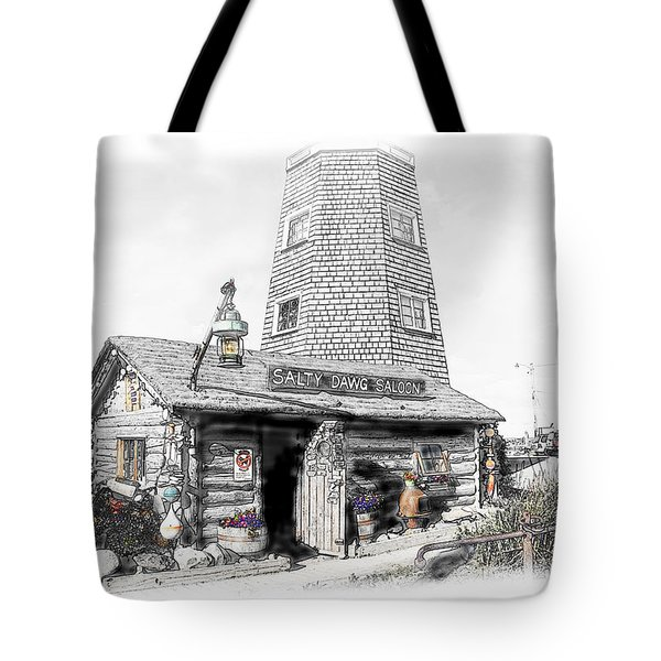 Tote Bag featuring the photograph Alaska's Salty Dawg Saloon In B/w  by Dyle   Warren