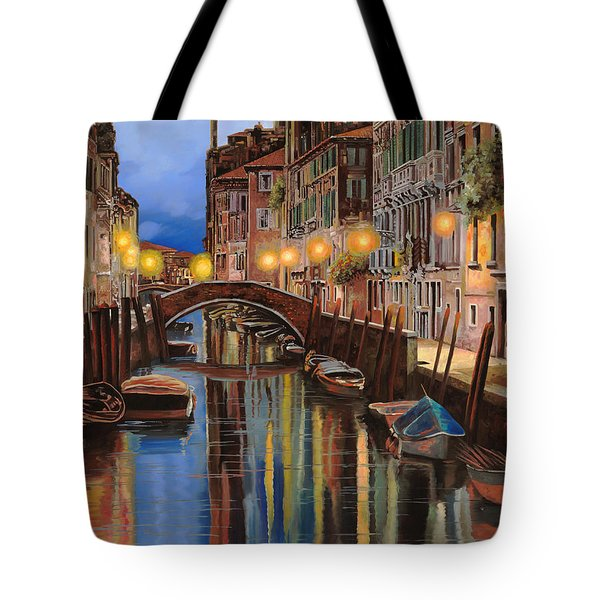 Tote Bag featuring the painting alba a Venezia  by Guido Borelli