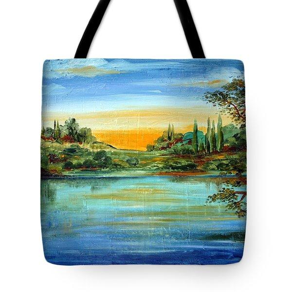 Tote Bag featuring the painting Alba Sul Lago by Roberto Gagliardi