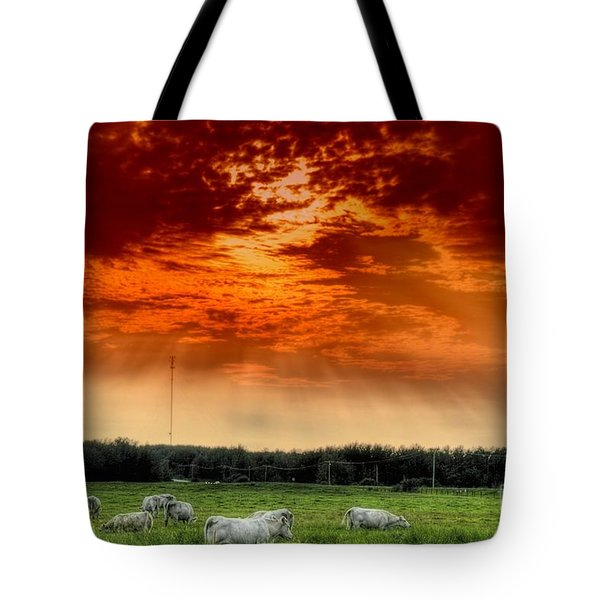 Tote Bag featuring the photograph Alberta Canada Cattle Herd Hdr Sky Clouds Forest by Paul Fearn