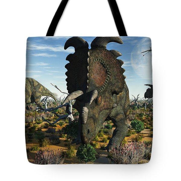 Albertaceratops Dinosaurs Grazing Tote Bag by Mark Stevenson