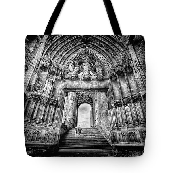 Albi Cathedral Arch To Heaven Bw Tote Bag by Jack Torcello