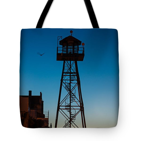Alcatraz Guard Tower Tote Bag by Steve Gadomski