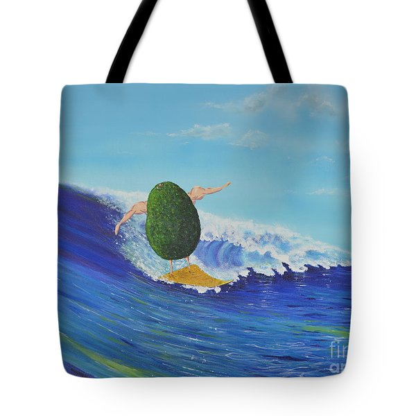Alex The Surfing Avocado Tote Bag