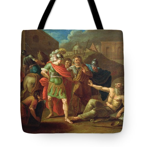 Alexander The Great Visits Diogenes At Corinth, 1787 Oil On Canvas Tote Bag