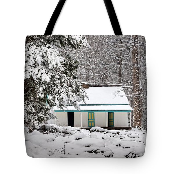 Tote Bag featuring the photograph Alfred Reagan's Home In Snow by Debbie Green