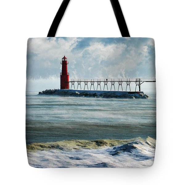 Algoma Pierhead Lighthouse Tote Bag by Christopher Arndt