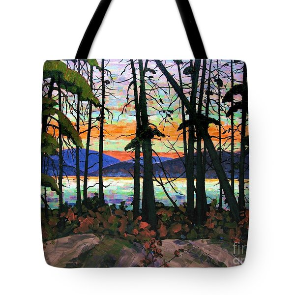 Algoma Sunset Acrylic On Canvas Tote Bag by Michael Swanson
