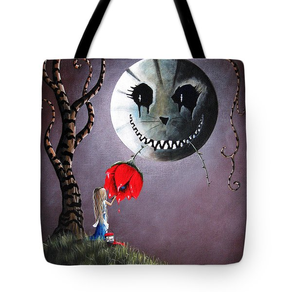 Alice In Wonderland Original Artwork - Alice And The Dripping Rose Tote Bag