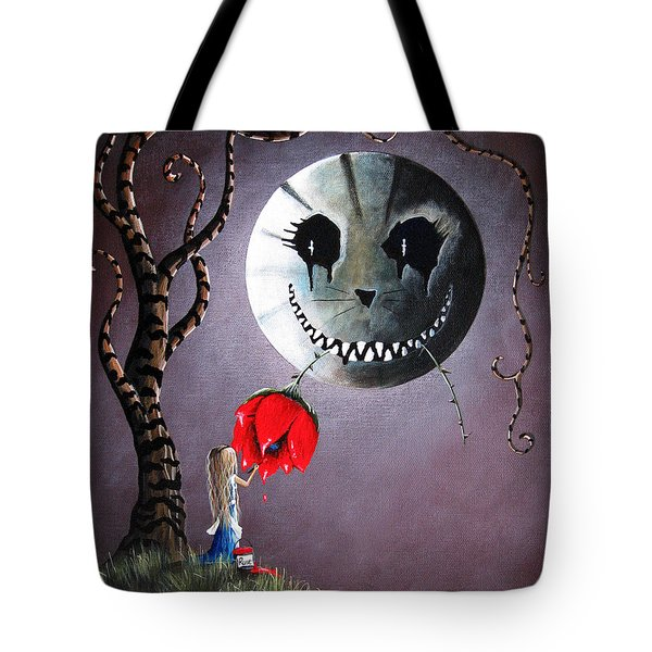 Alice In Wonderland Original Artwork - Alice And The Dripping Rose Tote Bag