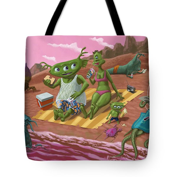 Alien Beach Vacation Tote Bag by Martin Davey
