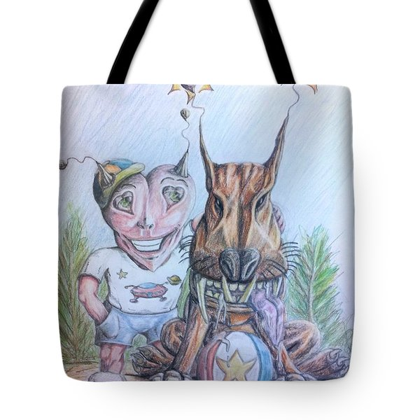 Tote Bag featuring the painting Alien Boy And His Best Friend by R Muirhead Art