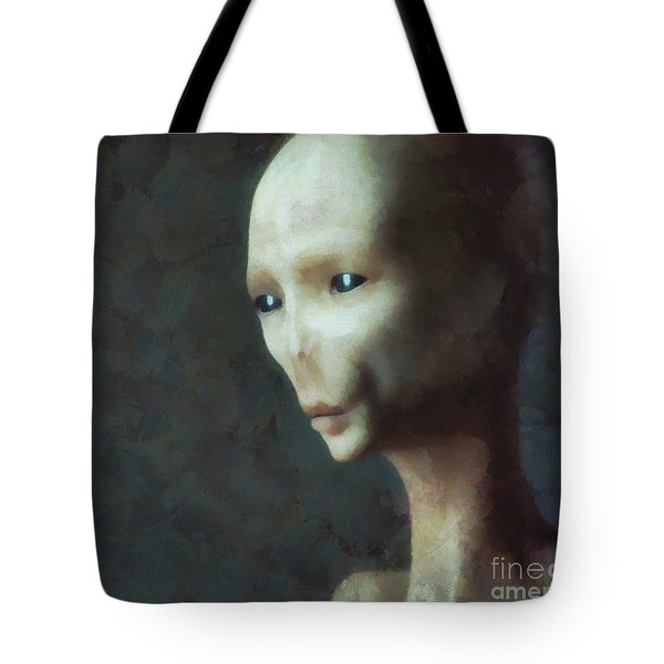 Alien Grey Thoughtful  Tote Bag by Pixel Chimp