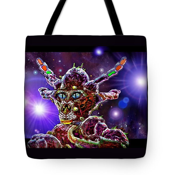 Tote Bag featuring the digital art Alien Portrait by Hartmut Jager