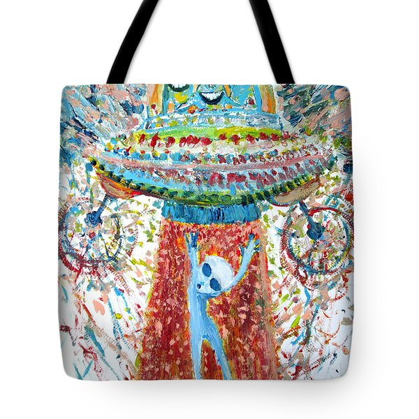 Aliens Abducting An Alien-cosmic Darwinism Tote Bag by Fabrizio Cassetta