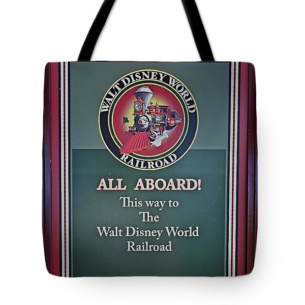 All Aboard Sign Tote Bag by Thomas Woolworth