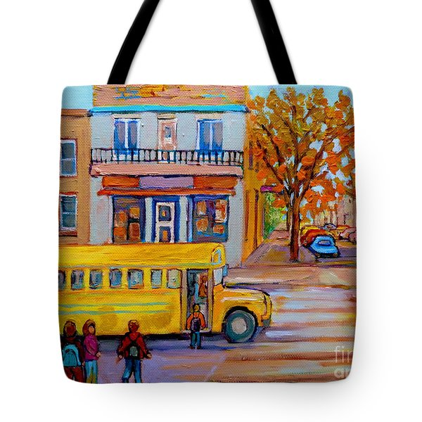 All Aboard The School Bus Montreal Street Scene Tote Bag by Carole Spandau