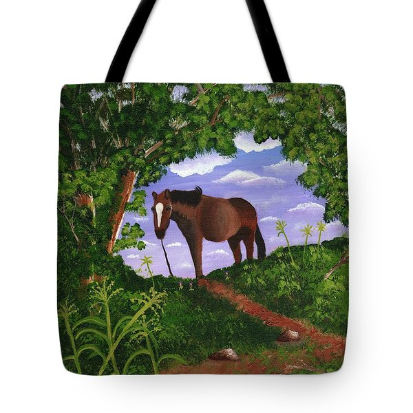 Tote Bag featuring the painting All Alone by Laura Forde