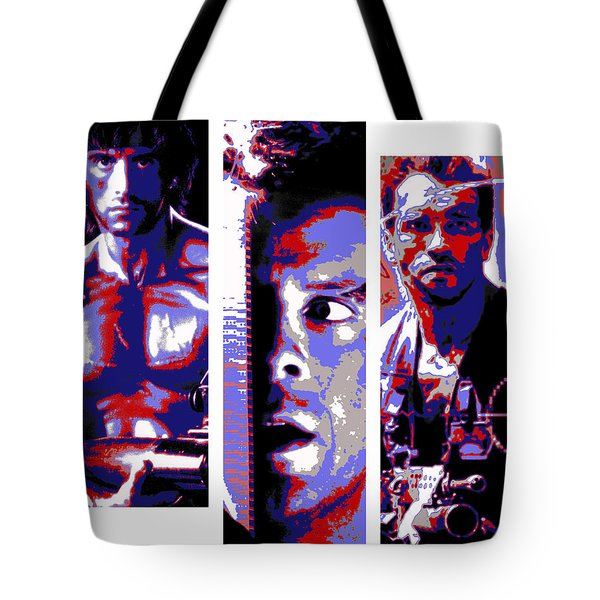Tote Bag featuring the digital art All-american 80's Action Movies by Dale Loos Jr