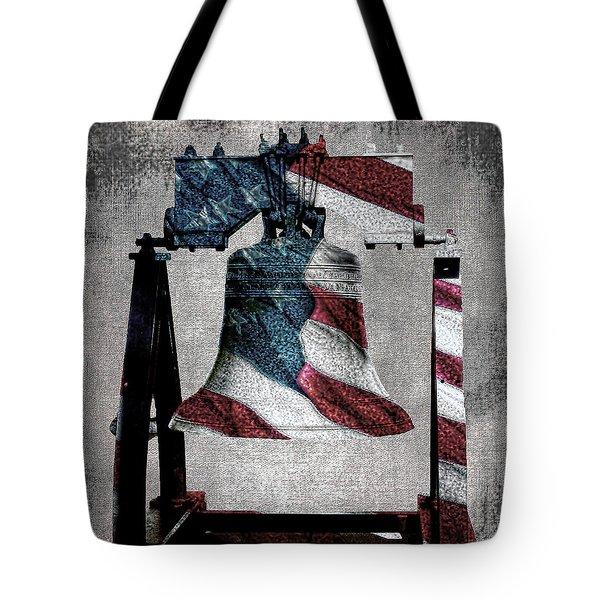 All American Liberty Bell Art_denim Tote Bag by Lesa Fine