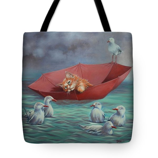 Tote Bag featuring the painting All At Sea by Cynthia House