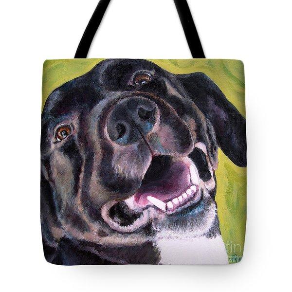 All Smiles Black Dog Tote Bag