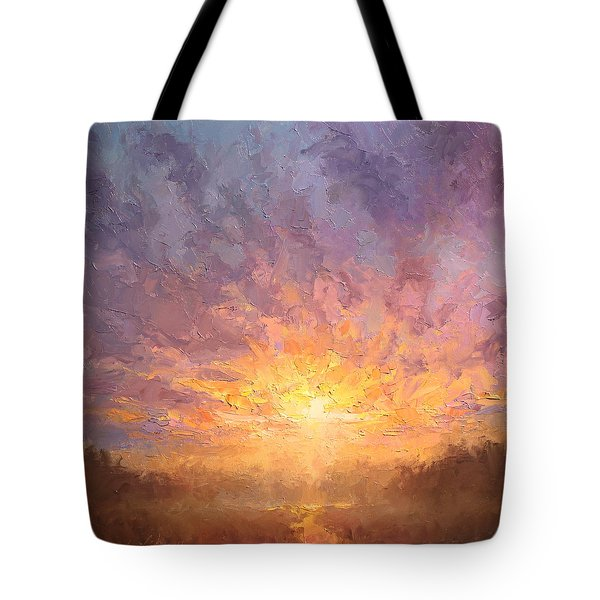 Impressionistic Sunrise Landscape Painting Tote Bag by Karen Whitworth