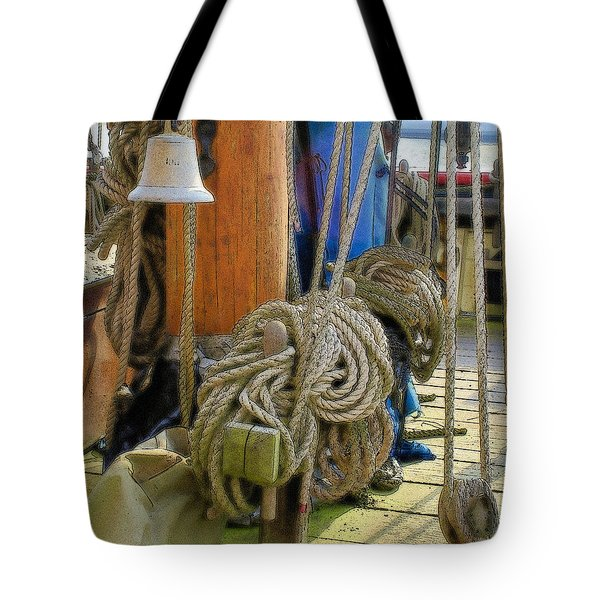 Tote Bag featuring the digital art All Tied Up by Ron Harpham