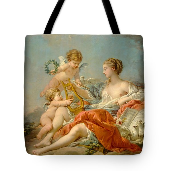 Allegory Of Music Tote Bag by Francois Boucher