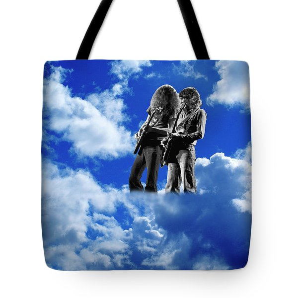 Tote Bag featuring the photograph Allen And Steve In Clouds by Ben Upham