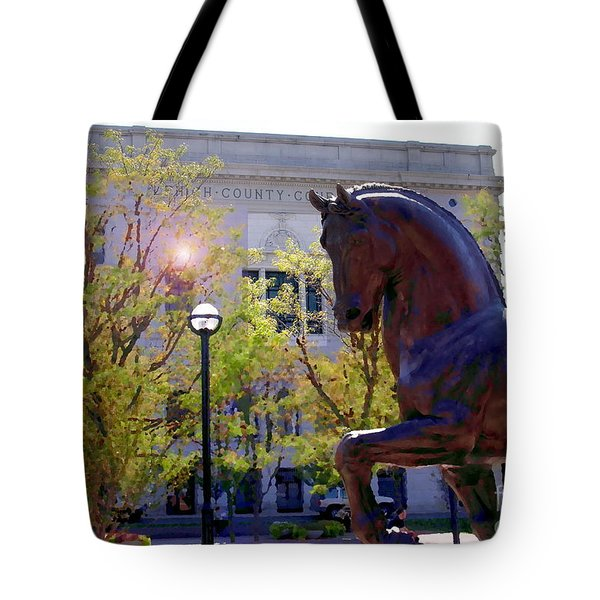Allentown Pa Old Lehigh County Courthouse And Davinci Horse  Tote Bag by Jacqueline M Lewis