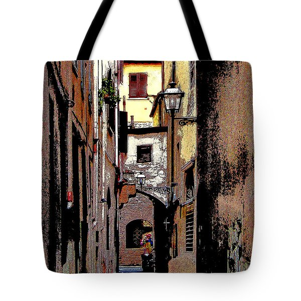 Tote Bag featuring the digital art Alley In Florence 2 Digitized by Jennie Breeze