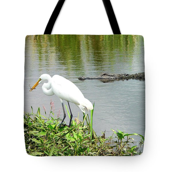 Alligator Egret And Shrimp Tote Bag