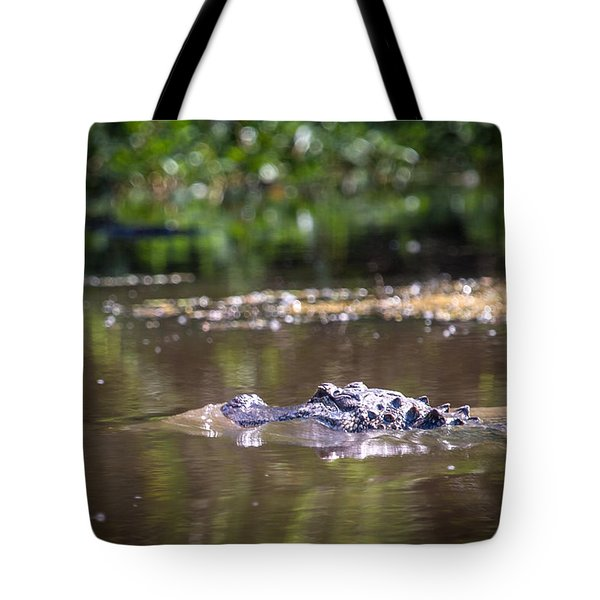 Alligator Swimming In Bayou 1 Tote Bag