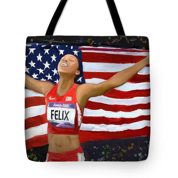 Tote Bag featuring the digital art Allison Felix Olympian Gold Metalist by Vannetta Ferguson