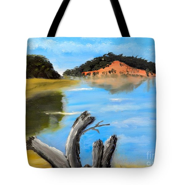 Tote Bag featuring the painting Allonah Beach Tasmania by Pamela  Meredith